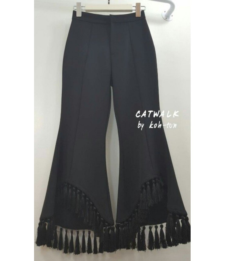 Black Palazzos with Fringes