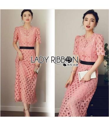 Peach Crochet A-Line Midi Dress