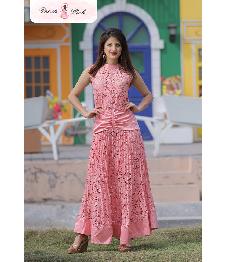Pretty Pastel Pink Maxi Dress with Bow