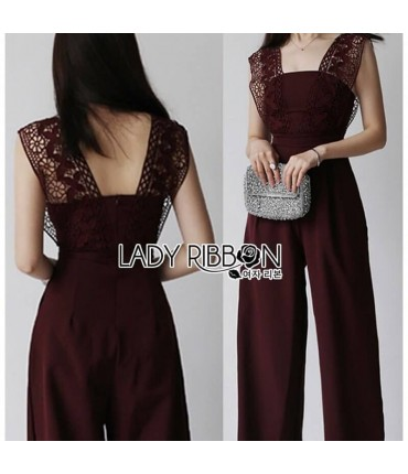 Lace Neck Maroon Plazo Jumpsuit
