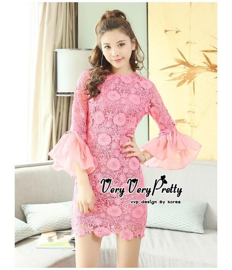 Cotton Candy Ruffel Hem Dress