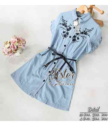 Light Blue Front Button Dress