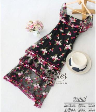 Black Floral Embroidered Dress