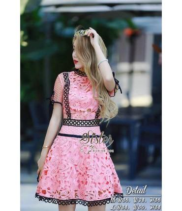 Girl in Pink Mini Skater Dress