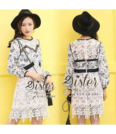 Day Out BnW Floral Pattern Dress