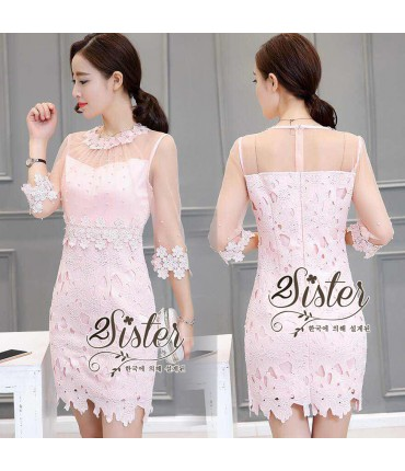 Sparkling Pink Pearl Beaded Dress