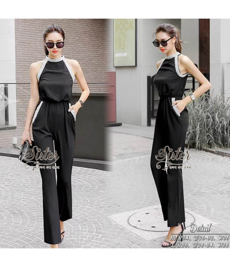 1864a8a44538 Black Elinor Pearl Collar Jumpsuit