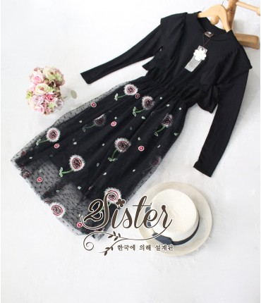 Bold & Black Floral Netting Dress