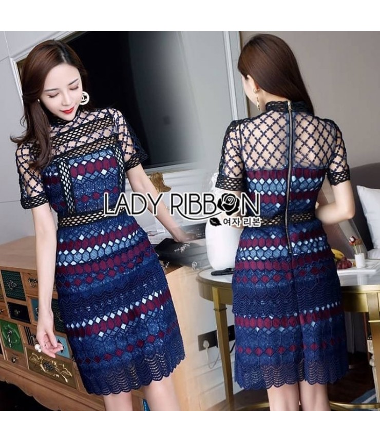 Fishnet Blue Bodycon Dress