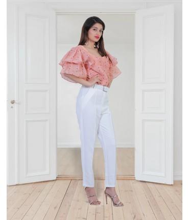 Senorita Cropped Blouse and Pants Co-ord Set
