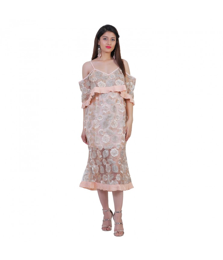 Glitter Off Shoulder Midi Dress