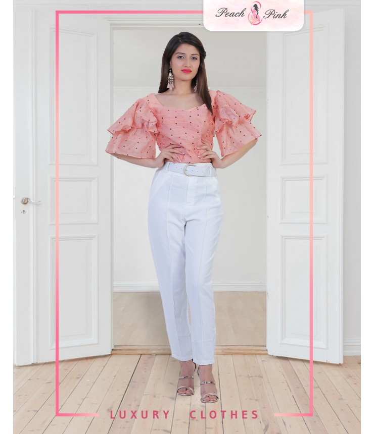 Senorita Cropped Blouse and Pants Co-ord Set