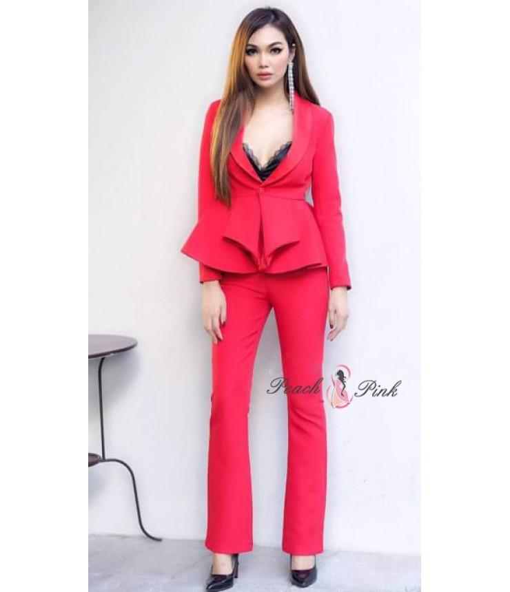 Blossom Red Trendy Blazer Set