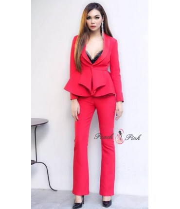 Blossom Red Trendy Blazer Set