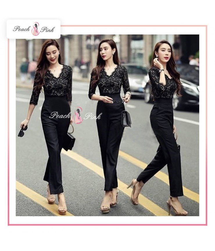 Elegant Lace Black Jumpsuit