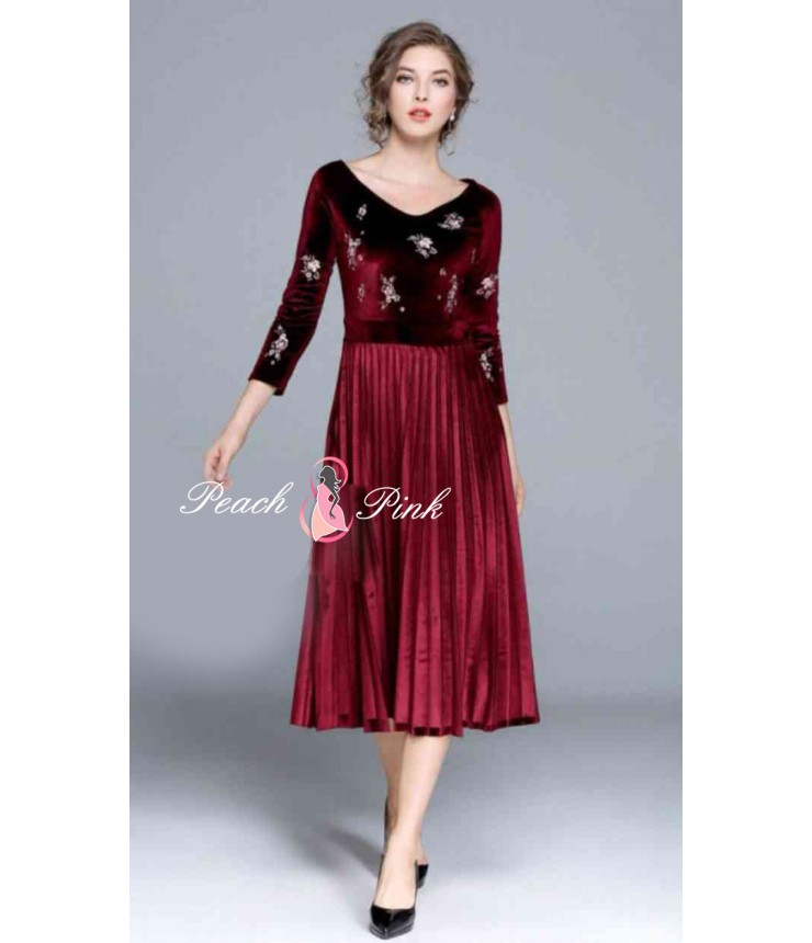 Garnet Maroon velvet Midi Dress