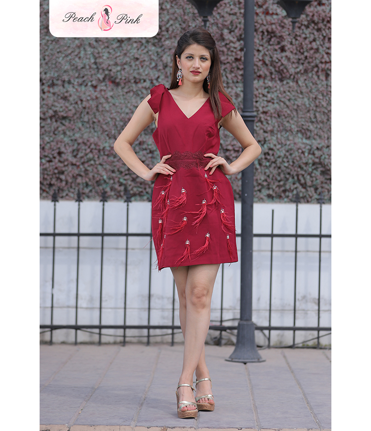 Red Vine Tassel Detail Strappy Mini Dress