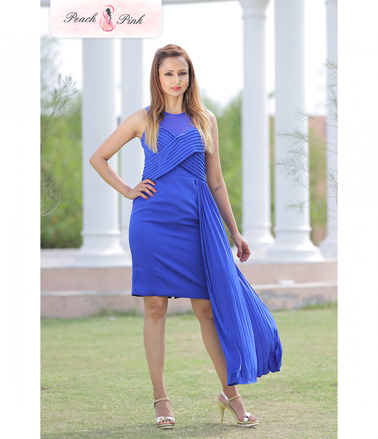 Pretty Pleats Royal Blue Tail Dress