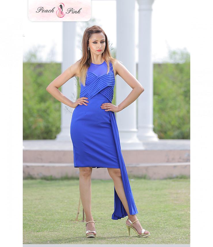Pretty Pleats Royal Blue Tail Dress
