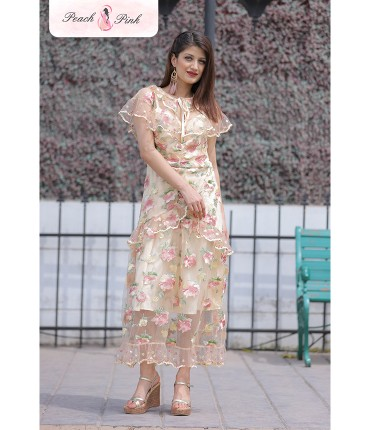 Slay the evening Yellow floral lace dress