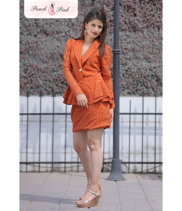 Lady Diana Rust Peplum Blazer Set