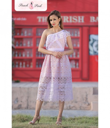 Charismatic Lavender One Shoulder Crochet Dress