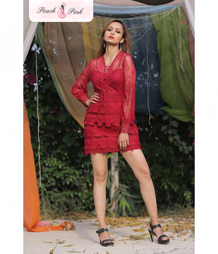 Be Bold and edgy V- neck Red Lace Dress