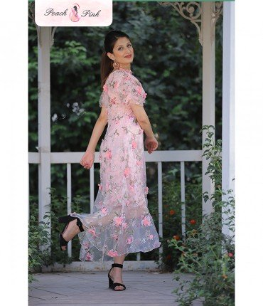 Fly high Beautiful Butterfly sleeved Pink Floral Dress