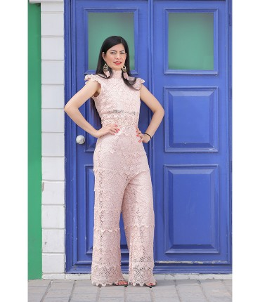 Dapper Peach Lace overlay Co ord Set