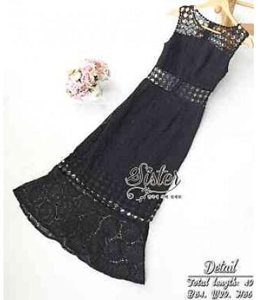 Cutwork Black Fit & Flare Dress