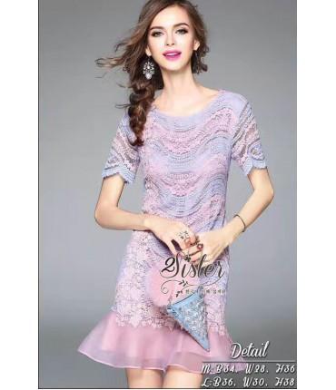 Eternal Crochet Wave Design Dress