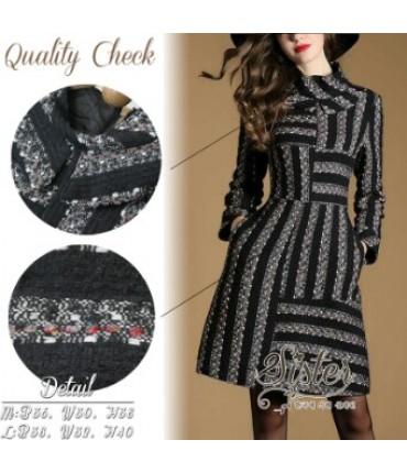 Knitted Black & Grey Skater Dress