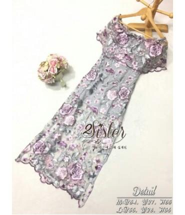 Grey & Pink Chandelier Midi Dress