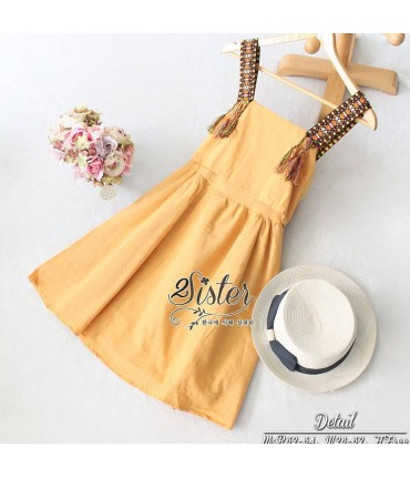 Big Bow Mustard Skater Dress