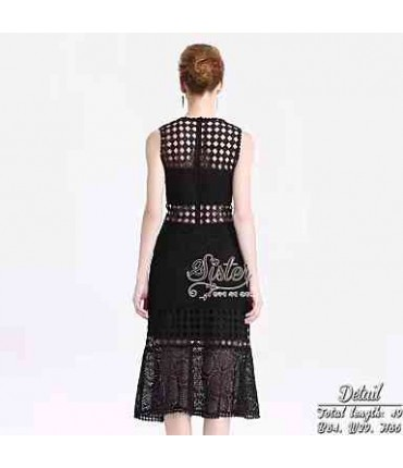 Cutwork Black Fit & Flare Dress