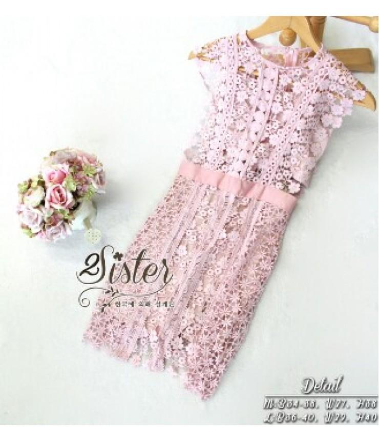 Little Flower Pink Crochet Dress