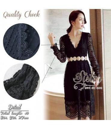 Soiree Black Lace Crochet Dress