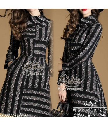 Knitted Black & Grey Skater Dress