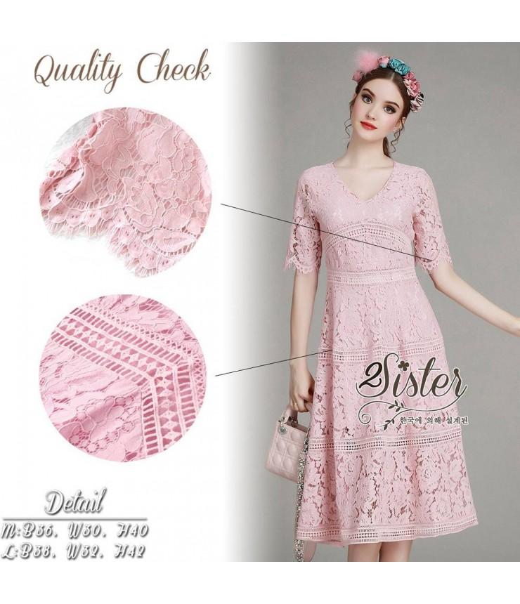 Rose Pink Pattern Lace Midi Dress