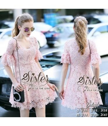 Baby Pink Crochet Skater Dress