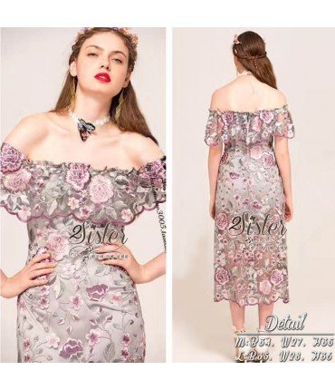 Fairy Purple Floral Lace Dress
