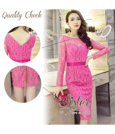 Fuschia Pink Crochet Pencil Dress