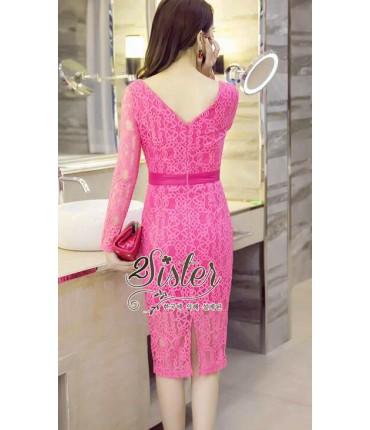 Fuschia Pink Crochet Pencil Dress