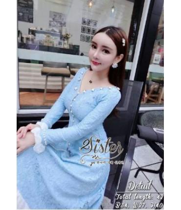 Seafoam Blue Ruffle Lace Dress