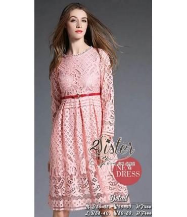 Makin' My Day Peach Crochet Dress