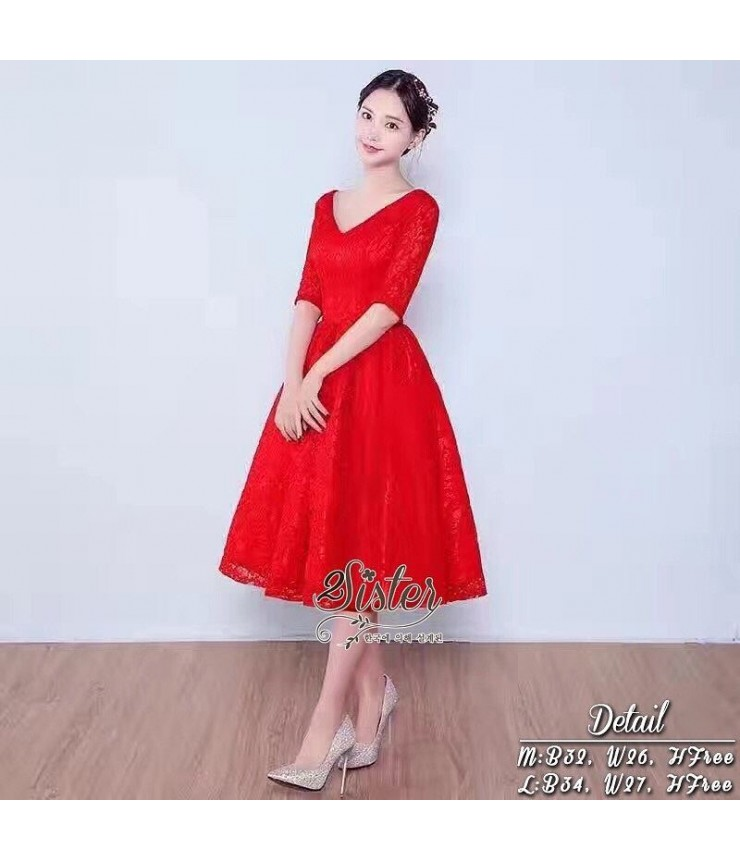 Red Riding Hood Midi Lace Gown