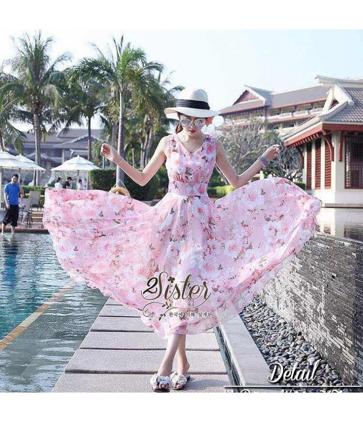 Jasmine Floral Pink Maxi Dress