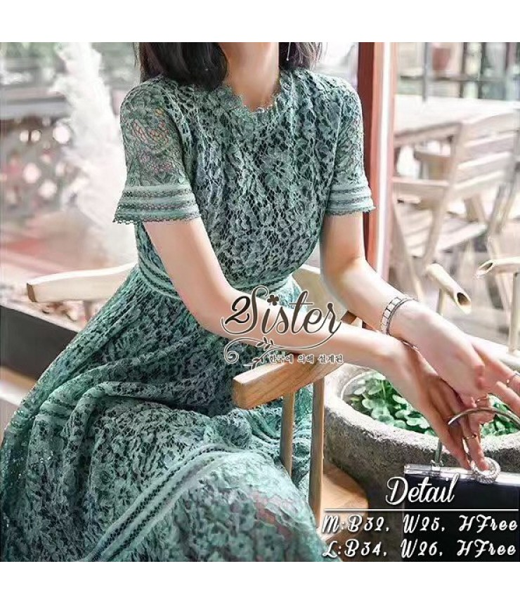 Blossom Sea Green Midi Dress