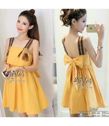 Big Bow Mustard Skater Dress