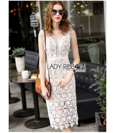 Floral White Lace Bodycon Dress